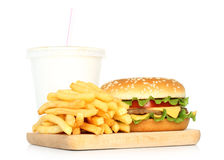Hamburger, potato free and cola Stock Photo