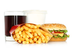 Hamburger, potato free and cola Royalty Free Stock Images
