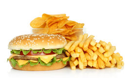 Hamburger, potato free and potato chips Stock Photos