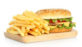 Hamburger and potato free Royalty Free Stock Photography