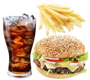 Hamburger, Potato Fries, Cola Drink. Takeaway Food. Royalty Free Stock Photography