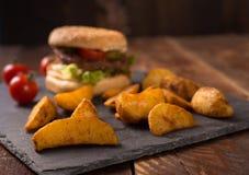 Hamburger and potato Stock Photo
