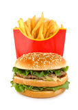 Hamburger and potato isolated Royalty Free Stock Photo