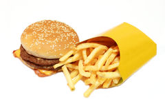 Hamburger with potatoes Royalty Free Stock Photos