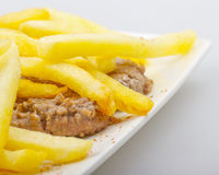 Hamburger and potatoes Royalty Free Stock Photography