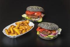 Hamburger pretos Fotos de Stock
