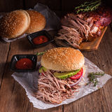 Hamburger pulled pork Stock Photography