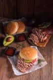 Hamburger pulled pork Stock Photo
