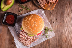 Hamburger pulled pork Royalty Free Stock Photos