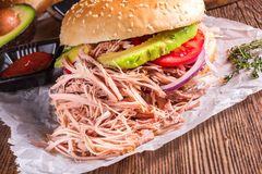 Hamburger pulled pork Royalty Free Stock Photo