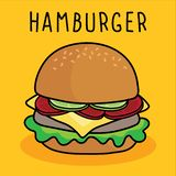 Hamburger, queijo e vegetal dos desenhos animados do vetor no fundo amarelo ilustração stock