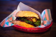 Hamburger on Red Tray Stock Photography