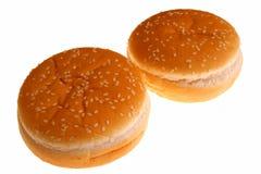 Hamburger rolls. Image of two hamburger rolls over white Royalty Free Stock Photography