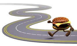 Hamburger that runs in the street Royalty Free Stock Photos