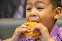 Hamburger ryba w ręki Asia chłopiec trzyma łasowanie obrazy royalty free