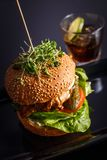 Hamburger saboroso caseiro com carne, queijo e as cebolas caramelizadas foto de stock royalty free