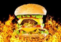 Hamburger saboroso no incêndio em uma obscuridade imagem de stock