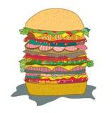 Hamburger with salad funny cartoon Royalty Free Stock Photography