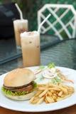 Hamburger and salad,ice capuchino Stock Photos