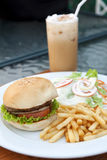 Hamburger  and salad,ice capuchino Stock Photography