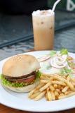 Hamburger  and salad,ice capuchino Stock Photography