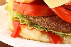 Hamburger with salad Stock Images