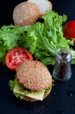 Hamburger with salad, tomato, meat on black  backdrop Royalty Free Stock Images