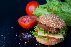 Hamburger with salad, tomato, meat on white backdrop Stock Image