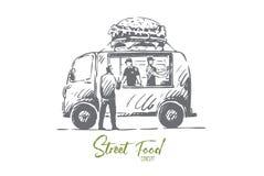 Hamburger, samochód, fast food, sklep, ciężarowy pojęcie R?ka rysuj?cy odosobniony wektor ilustracji