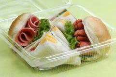 Hamburger and sandwich in box Stock Photo