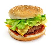 Hamburger, sandwich, burger with cheese, green salad, chips, meat patties and buns with sesame seeds on a white background Royalty Free Stock Images