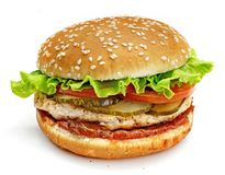 Hamburger, sandwich, burger with cheese, tomato, green salad, meat patties and buns with sesame seeds on a white background Stock Images