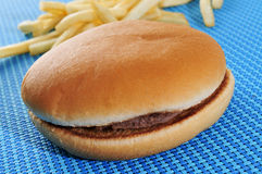 Hamburger sandwich and fries Royalty Free Stock Photos