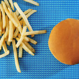 Hamburger sandwich and fries Stock Photography