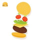 Hamburger sandwich ingredients structure setup Royalty Free Stock Photos