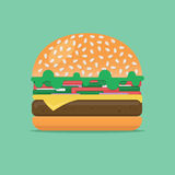 Hamburger or sandwich vector illustration. Fast food flat design style. Burger with beef and vegetables. Hamburger or sandwich vector illustration. Big burger Royalty Free Stock Photography