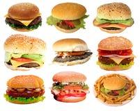 Hamburger saporiti, alimenti a rapida preparazione Immagini Stock Libere da Diritti
