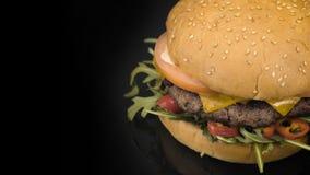 Hamburger saporito con il rucola Immagini Stock