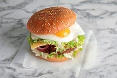 Hamburger saporito con l'uovo fritto fotografie stock