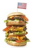Hamburger saporito di XXL con la bandiera di U.S.A. serie Fotografia Stock Libera da Diritti