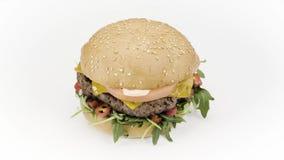 Hamburger saporito su bianco stock footage