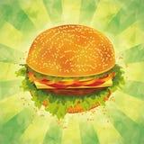Hamburger saporito sulla priorità bassa del grunge Fotografia Stock Libera da Diritti