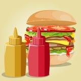 Hamburger and sauces set. Royalty Free Stock Photo