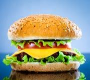 Hamburger savoureux et appétissant sur un bleu photo stock