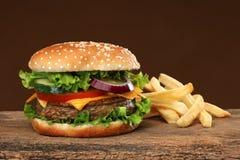 Hamburger savoureux et frites français Image libre de droits