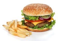 Hamburger savoureux et pommes frites d'isolement Photographie stock