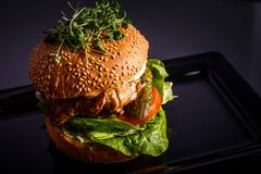 Hamburger savoureux fait maison avec du boeuf, le fromage et les oignons caramélisés photo libre de droits