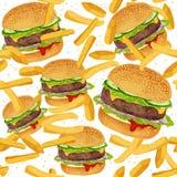 Hamburger seamless pattern Stock Photos
