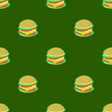 Hamburger Seamless Pattern on Green Background Royalty Free Stock Photography
