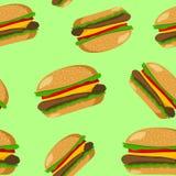 Hamburger seamless pattern Stock Photography